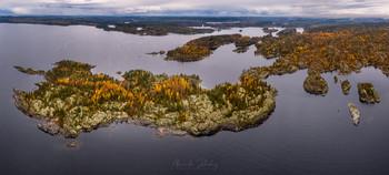 Осенние острова / Аэросъемка. Ладожские шхеры, Карелия