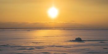"""/ Зимний закат над заливом. """"Западный Котлин"""", Кронштадт"""