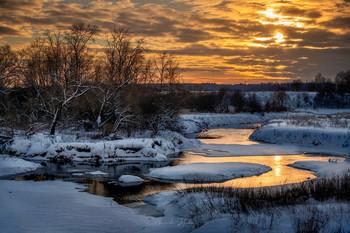 Зимняя река II / Закат на р. Теза в Ивановской обл.