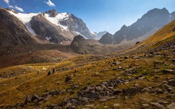 / Лето на ледниках Заилийского Алатау под Алматы. Талгарский перевал. Высота 3200 м.