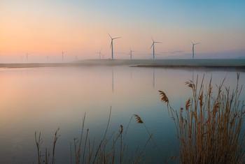 Рассвет в ветропарке / Из серии «Голландский пейзажный мотив».  Туманный рассвет в ветропарке Кочубеевской ВЭС. Середина апрель 2021 г. Из фотопроекта «Открывая Ставрополье».