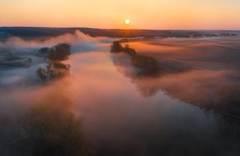 Весенний туман / Рассвет на реке Красивая Меча. Конец апрель, 2021 год. Лебедянский район, Липецкая область.