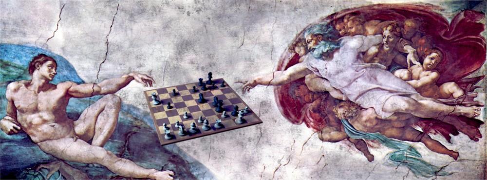 картина бог и человек тянут руки кабинки