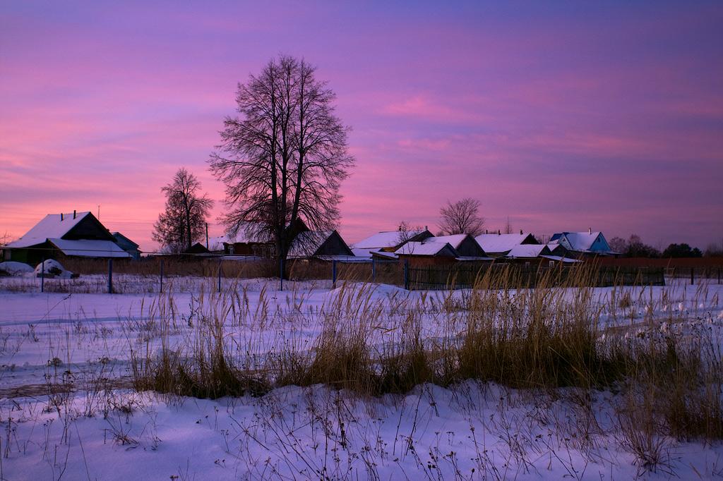 Анимационные, картинки утро зимой в деревне