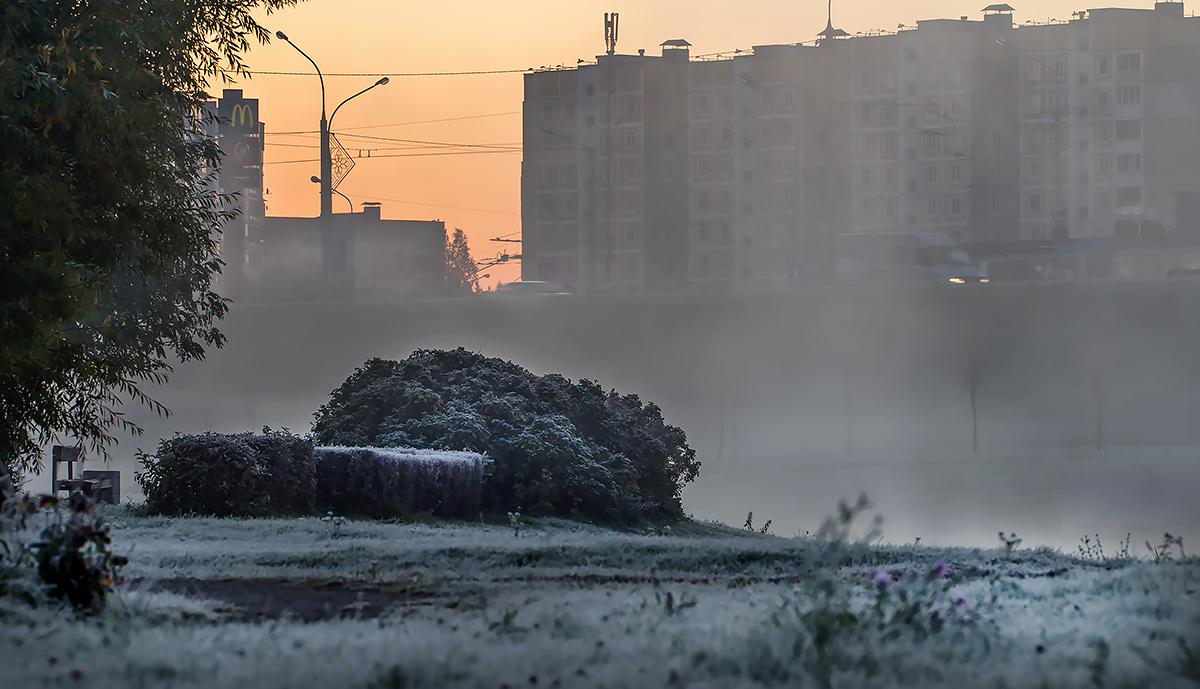морозное утро в городе фото территории одного