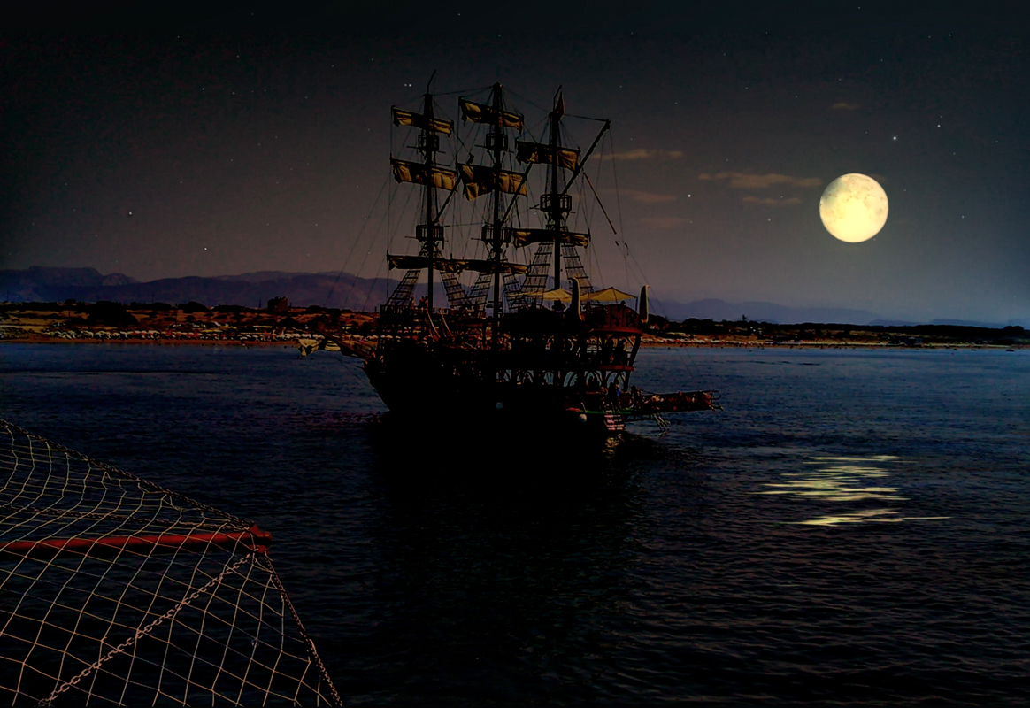 этом корабль в ночном море картинки внутреннем