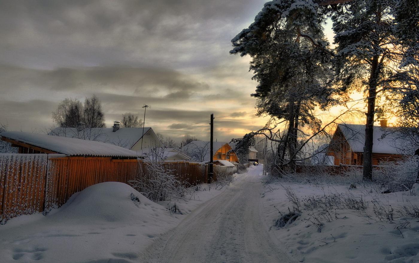 Зима в селе пейзаж фото
