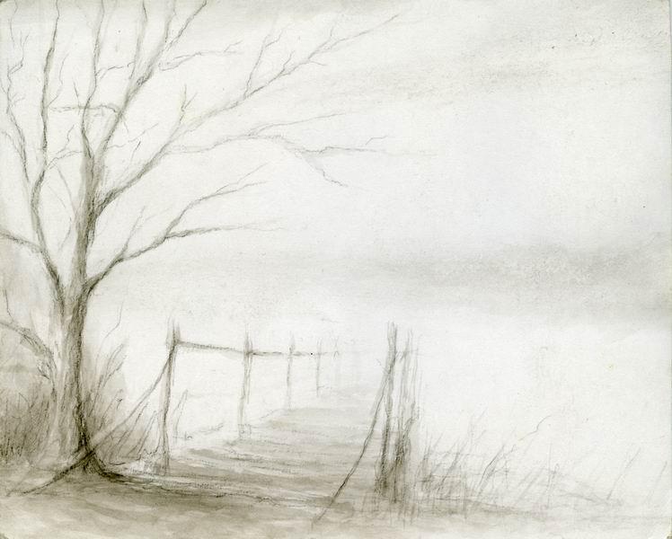 Осень рисунок карандашом