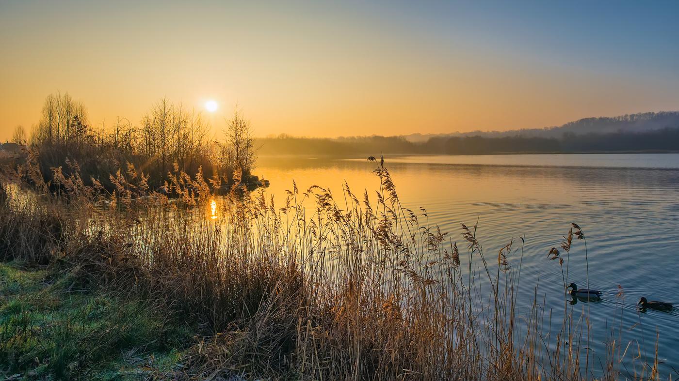 Картинки рассвета на озере