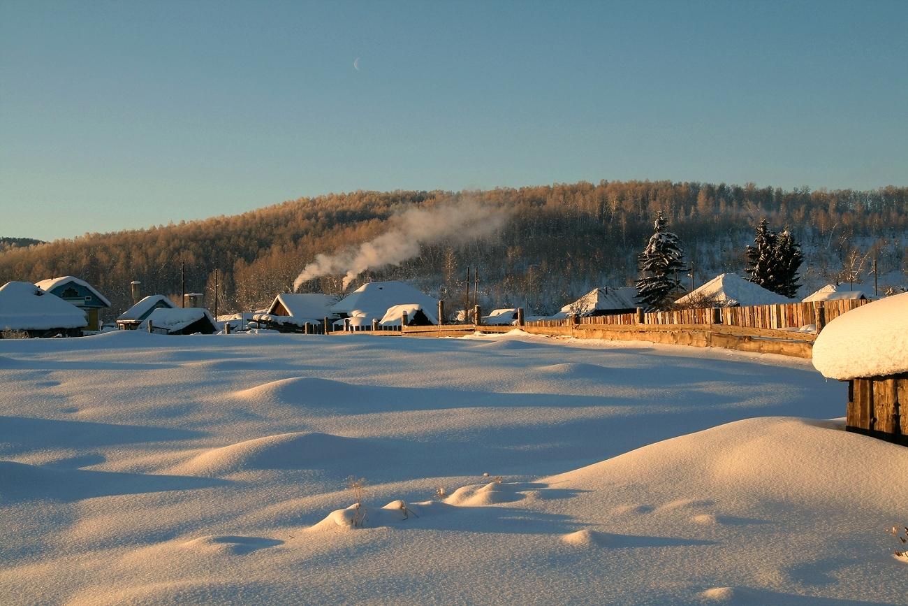 Картинки, картинки утро зимой в деревне