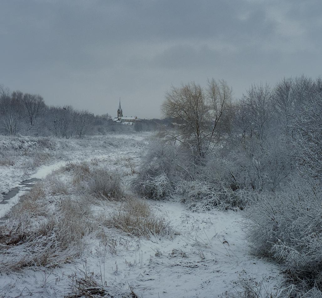 Пасмурный зимний день фото печать самоклеящейся