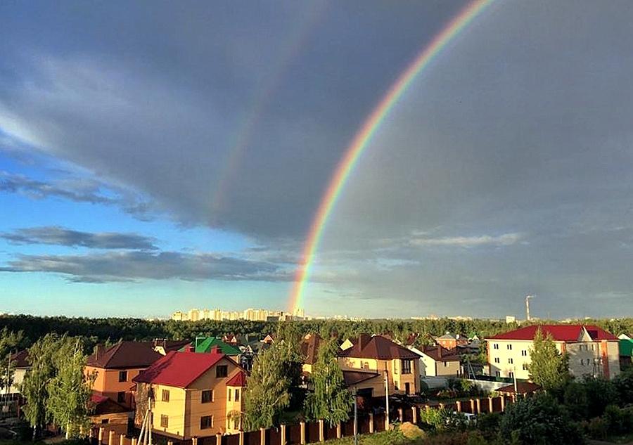 картинки радуга над городом любые материалы, металлочерепица