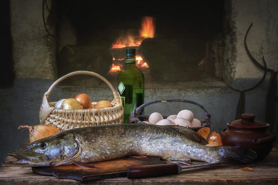 картинки натюрморт с рыбой биокамин