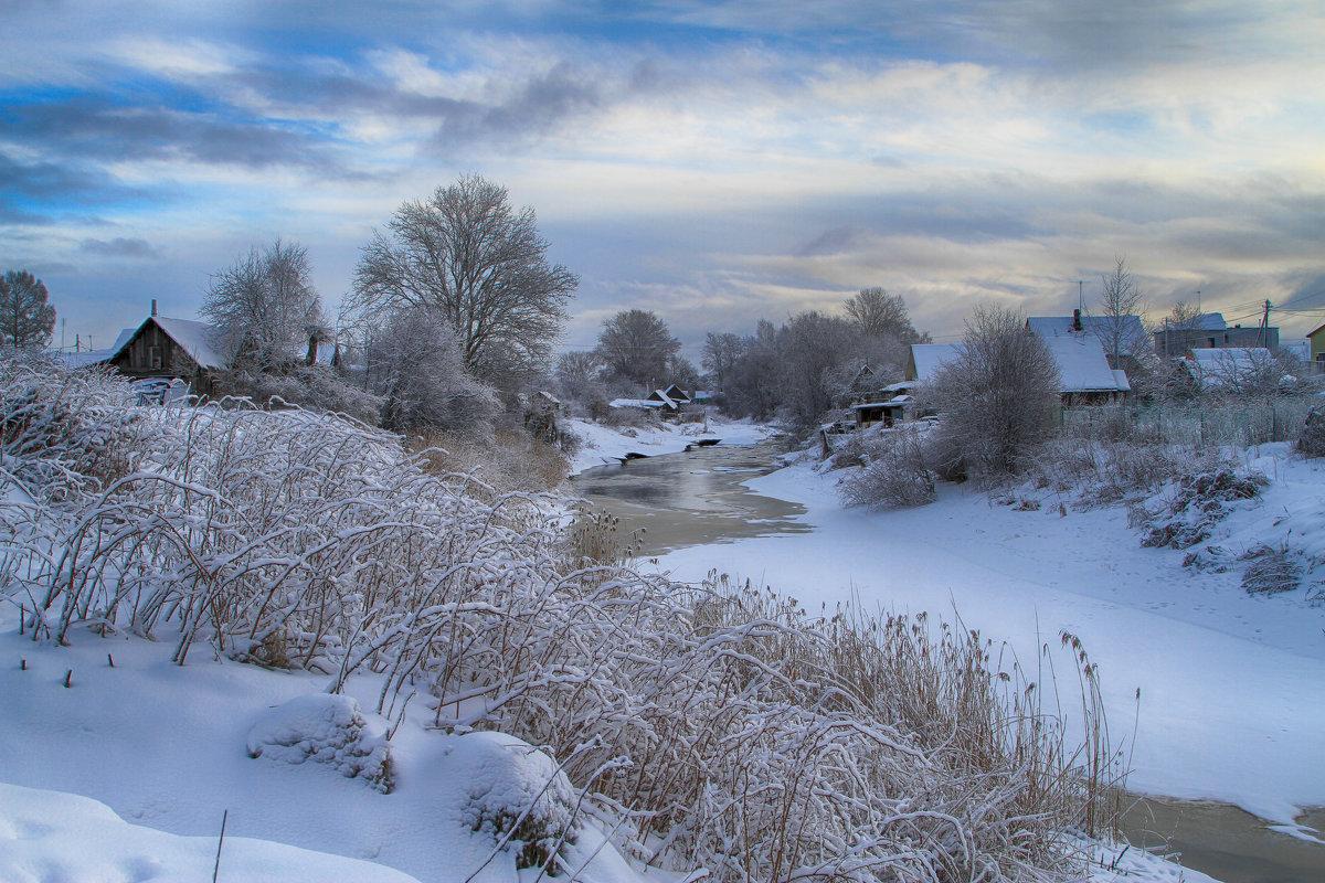 Деревня зима пейзаж автор фото