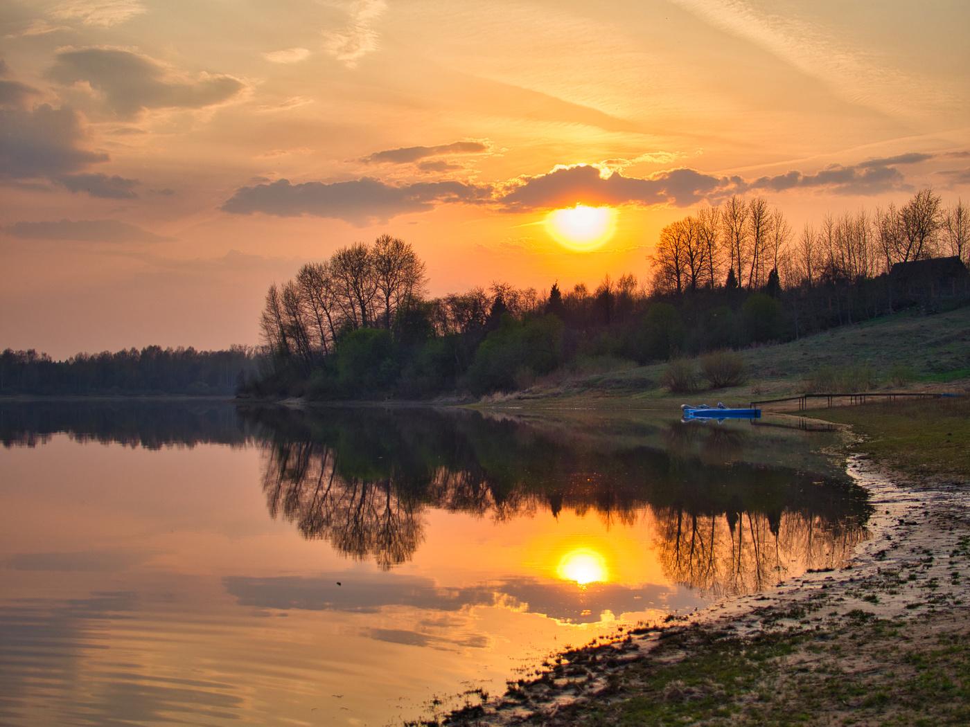 Картинки закат река