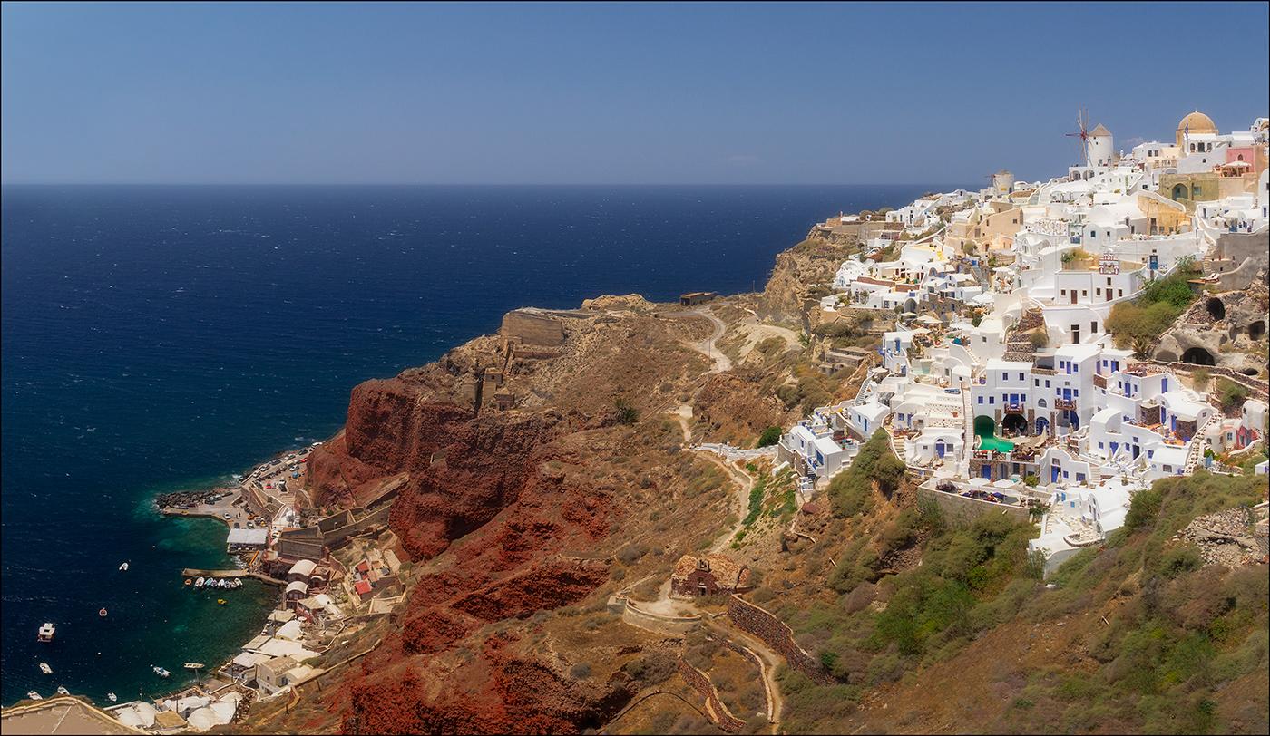 момент фото деревни ия в греции остров санторини ехала